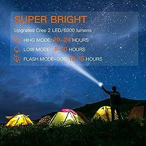 BUYSIGHT Rechargeable spotlight,Spot lights hand held large flashlight 6000 lumens handheld spotlight Lightweight and Super bright flashlight Outdoor spotlight flashlight Camping Flood searchlight