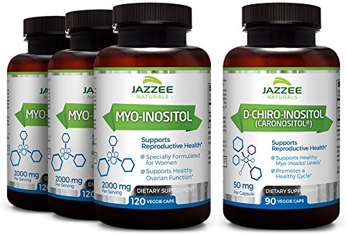 Save 10% | Myo-Inositol & D-Chiro-Inositol for PCOS | 3-Month Supply (4 Bottles) | Discounted Bulk Price | Ideal 40:1 Ratio | Vegan | All Natural | Potent PCOS, Fertility and Reproductive Support by Jazzee Naturals