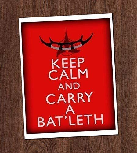 - Keep Calm and Carry a Batleth Art Print 8x10 Wall Art Star Trek Klingon Weapon Worf Trekker Trekkie Decor