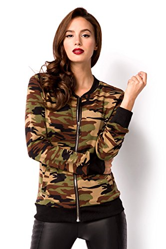 braun Blouson Femme Camouflage Angies Fashion Glamour ZCxqf