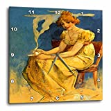 3dRose image of Muchas Art Nouveau Coffee Ad, Lady In Yellow Holding Cup – Wall Clock, 10 by 10-Inch (dpp_223059_1) For Sale