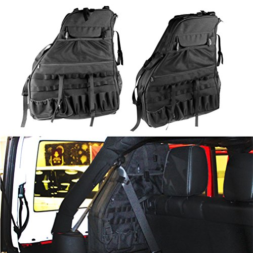Roll Bar Storage Bag Cage for 2007~2017 Jeep Wrangler JK 4-door with Multi-Pockets & Organizers & Cargo Bag Saddlebag Tool Kits Holder