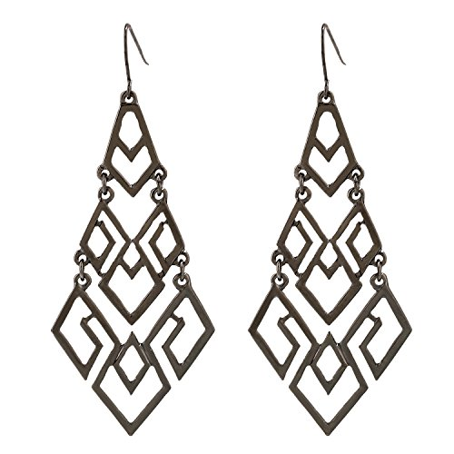 D EXCEED Women's Chandelier Drop Earrings Gift Wrapped Fashion Gold Cutout Tiered Dangle Drop Earrings Hematite