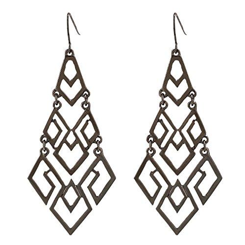 - D EXCEED Women's Chandelier Drop Earrings Gift Wrapped Fashion Gold Cutout Tiered Dangle Drop Earrings Hematite