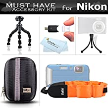 """Starter Accessories Kit For The Nikon COOLPIX AW120, AW110, AW100, AW130 Waterproof Digital Camera Includes Deluxe Carrying Case + 7"""" Flexible Tripod + FLOAT STRAP + Mini TableTop Tripod + More"""