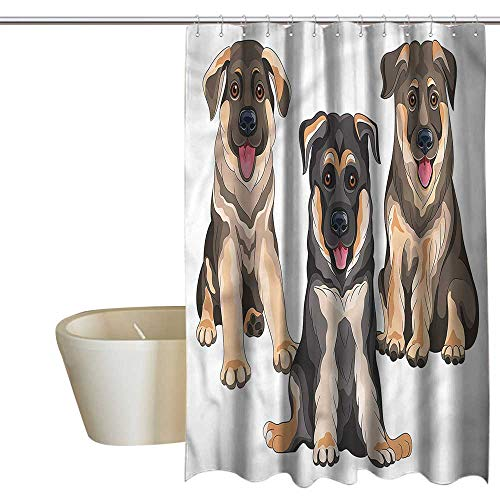 (RenteriaDecor Shower Curtains for Bathroom Coral Turquoise German Shepherd,Smiling Pet Puppies,W55 x L84,Shower Curtain for)