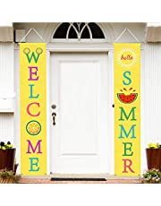 Mosoan Summer Porch Sign - Summer Decorations Outdoor Indoor - Welcome Summer Banner Sign - Summer Party Home Wall Door Decor