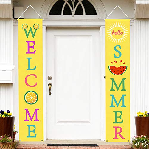 (Mosoan Summer Porch Sign - Summer Decorations Outdoor Indoor - Welcome Summer Banner Sign - Summer Party Home Wall Door Decor)
