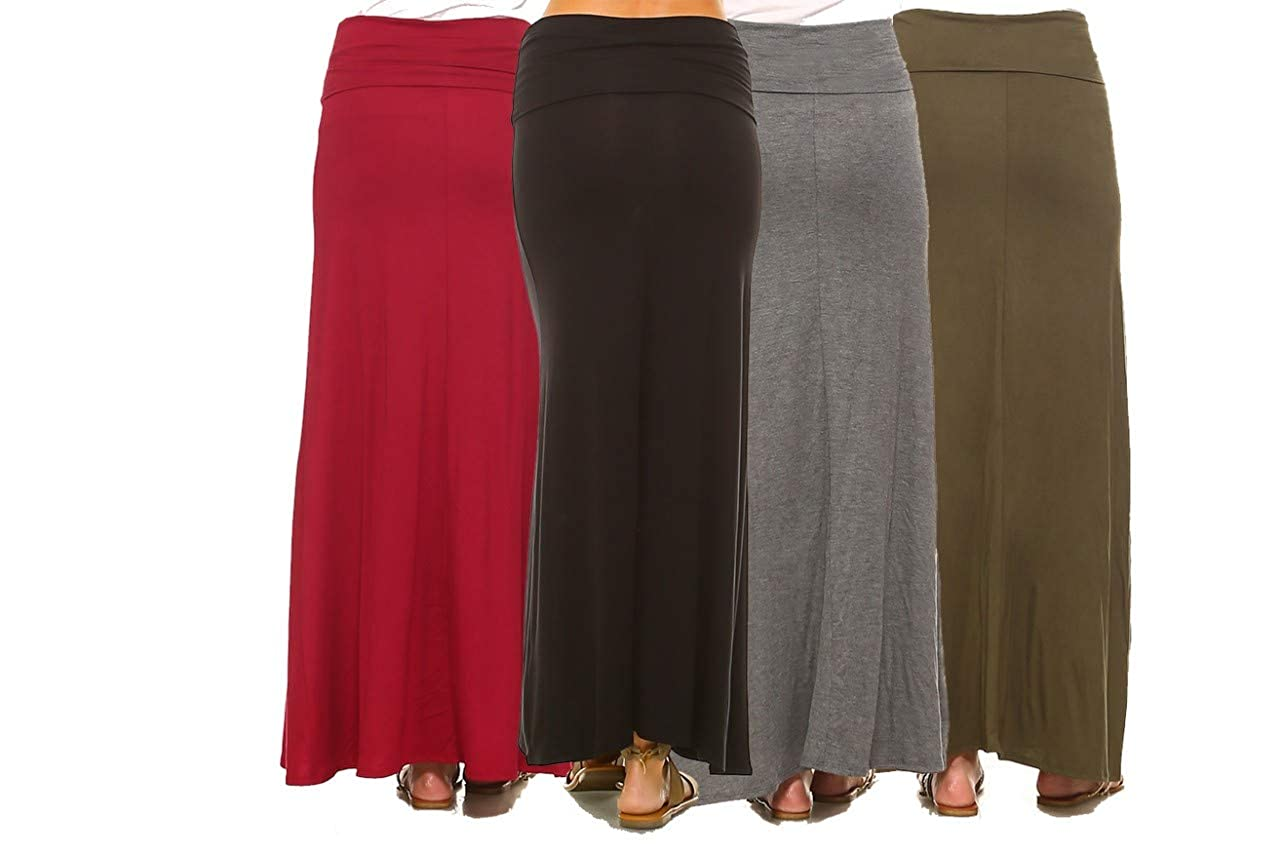 22466b783e34 Isaac Liev Women's 4-Pack Trendy Rayon Span Fold Over Maxi Skirt -  Multicoloured -: Amazon.co.uk: Clothing