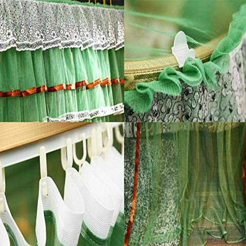 360° Protection Mosquito Nets Bed Canopy Lace Side Princess Net Tent U-Guide Easy Installation Anti-Mosquito Home Decorative,Green,150200CM by LINLIN MOSQUITO NET (Image #4)