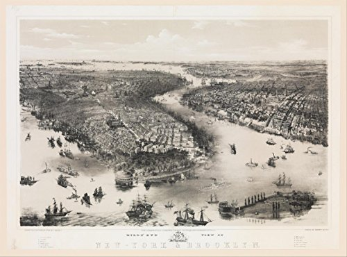 Historic Pictoric Fine Art Print   John Bachmann   Bird's Eye View of New York and Brooklyn   Vintage Wall Art   14in x 11in