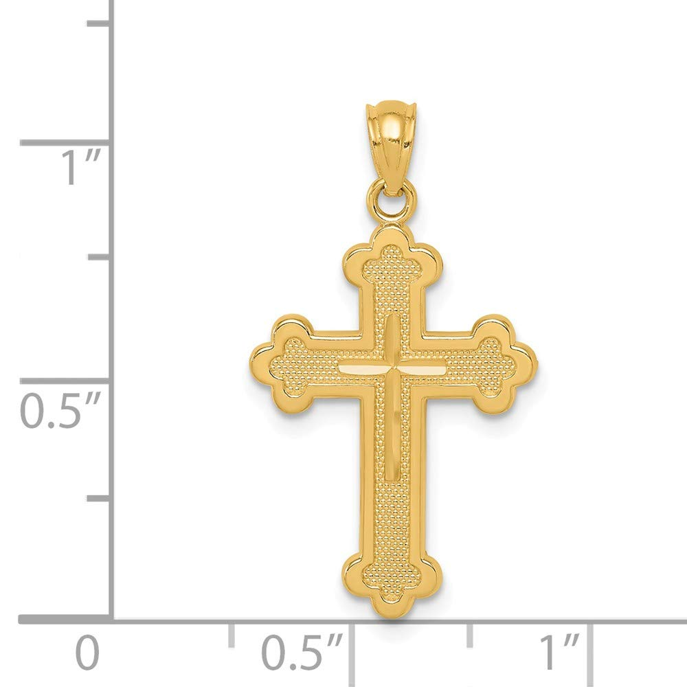 14K Yellow Gold Budded Cross Pendant