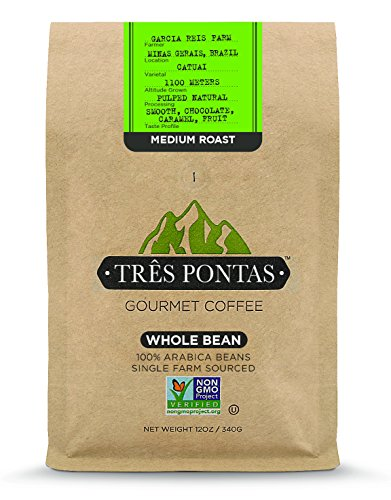 Três Pontas Brazilian Gourmet Coffee, 100% Arabica, Single Origin, Single Farm Sourced, Hand Picked and Freshly Roasted for You, 12 Ounces, Medium, Whole Bean