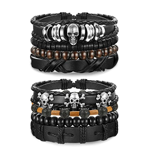 Jstyle 2 Sets Leather Bracelet for Men Cuff Beaded Bracelets Leather Wristbands