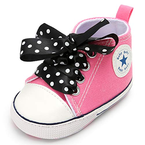 BENHERO Baby Girls Boys Canvas Shoes Toddler Infant First Walker Soft Sole High-Top Ankle Sneakers Newborn Crib Shoes (0-6 Months M US Infant, C-Pink Black -