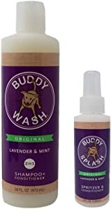 Buddy Wash Shampoo and Conditioner Plus Spritz Lavender Mint Dog Grooming Bundle (4-16 Ounces)