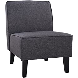 Giantex Deco Solids Accent Chair Armless Living Room Bedroom Office Contemporary (Gray)