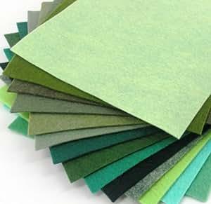 "15 Greens 9""X12"" Merino Wool Blend Felt Sheets Collection - OTR felt"