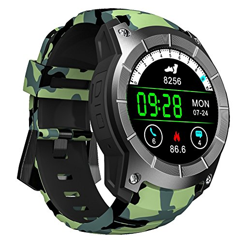 Ocamo Unisex Adult S958 Bluetooth Smart Watch Support GPS Air Pressure Call Heart Rate Sport Watches Army Green