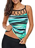 Aleumdr Womens Strappy High Neck Striped Color Block Printed Padded Racerback Tankini Tops Push up Swimsuits Sporty Bathing Suits Green X-Large 14 16