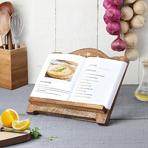 storeindya Wooden Hand Carved Kitchen Recipe Music Book Holder with Multipurpose Book Reading iPad Stand Adjustable Wood Cookbook Stand/Cookbook Stands for Kitchen (3 Star Bible Collection) by storeindya