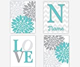 Baby Girl Nursery Wall Art Teal Gray Grey Flower Bursts Dahlias Mums Girl Room Floral Personalize Name Baby Nursery Decor SET OF 4 UNFRAMED PRINTS