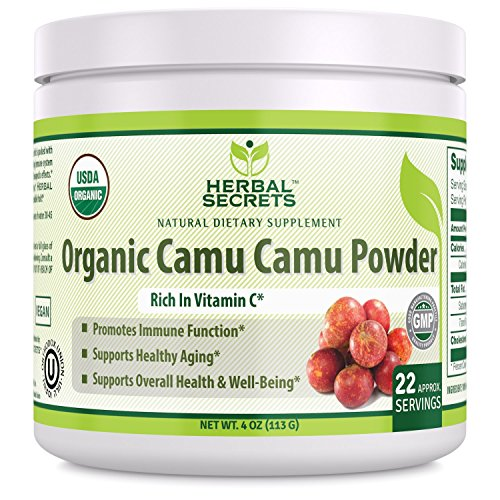 Herbal Secrets USDA Cerified Organic Camu Camu Powder 4 oz 113 G (22 Approx Servings) - Rich in Vitamin C *Promotes Immune Function, Supports healthy Aging and Supports