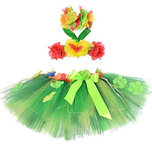 Girls Hawaiian Hula Tutu Skirts Fluffy Skirt Set Party -