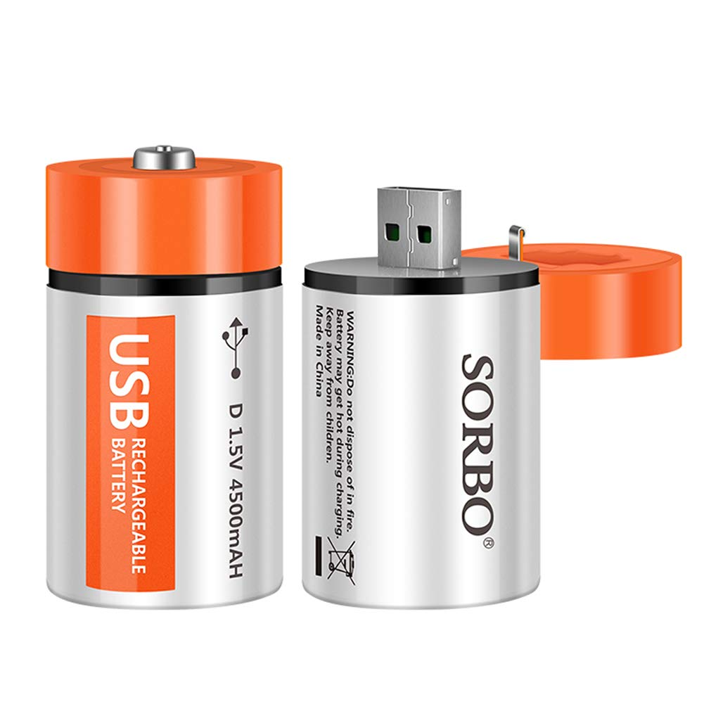 D Cell Batteries - USB Rechargeable Lithium D Batteries - 1.5V / 4500mAh (2-Pack) - Not NI-MH/NI-CD/Alkaline Batteries - ECO-Friendly & Recyclable - No Memory Effect by HITRENDS