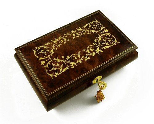 Contemporary 30 Note Italian Musical Jewelry Box with Arabesque Design - Scarborough Fair by MusicBoxAttic