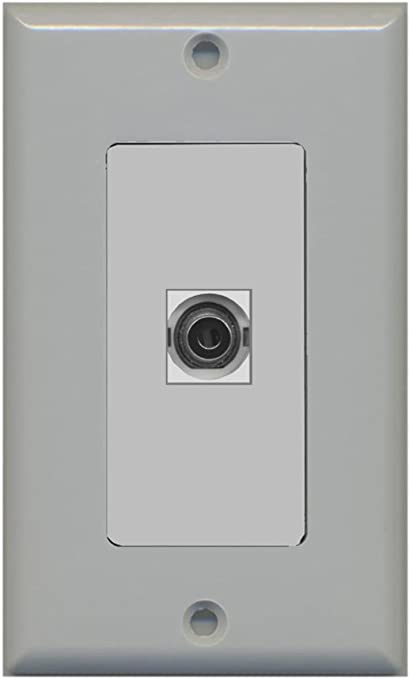 Bracket Included 3.5mm Audio Headphone Jack and 1 HDMI Port Wall Plate Decorative White RiteAV