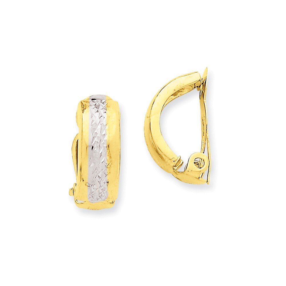 14k Gold Polished & Rhodium Non-pierced Earrings (0.67 in x 0.24 in)