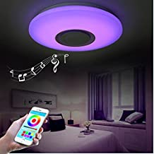 LED Ceiling Light, HOREVO Dimmable Modern Music Semi Flush Mount Fixture with Bluetooth Speaker , 24W 15 Inch, Cellphone APP, RGB Color Change Warm / Cool White Temperature, Pendant Ceiling Lighting