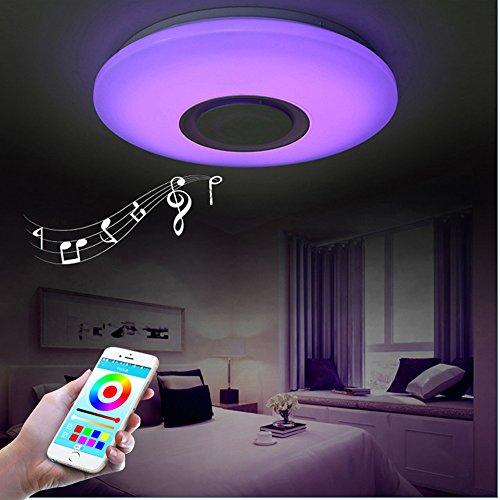 LED Ceiling Light, HOREVO Dimmable Modern Music Semi Flus...