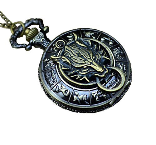Antique Brass Zodiac Pocket Watch with Wolf Head Pendant,wolf Necklace