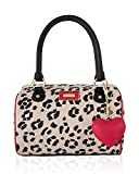 Betsey Johnson Heart Medium Speedy Satchel Shoulder Bag - Cheetah Red