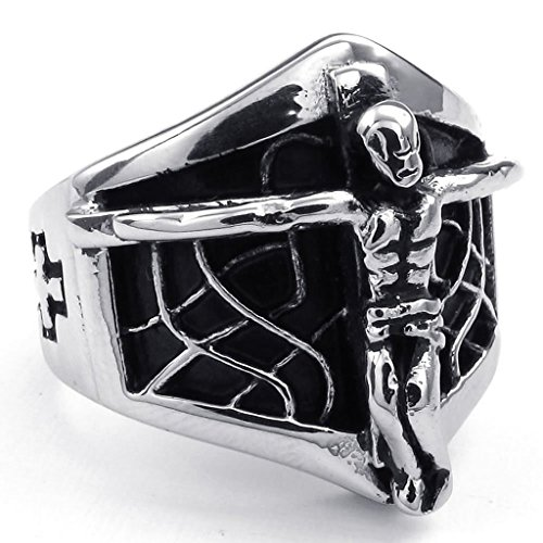 Stainless Steel Rings Men's Bands CZ Couples Black Silver Epinki - 8