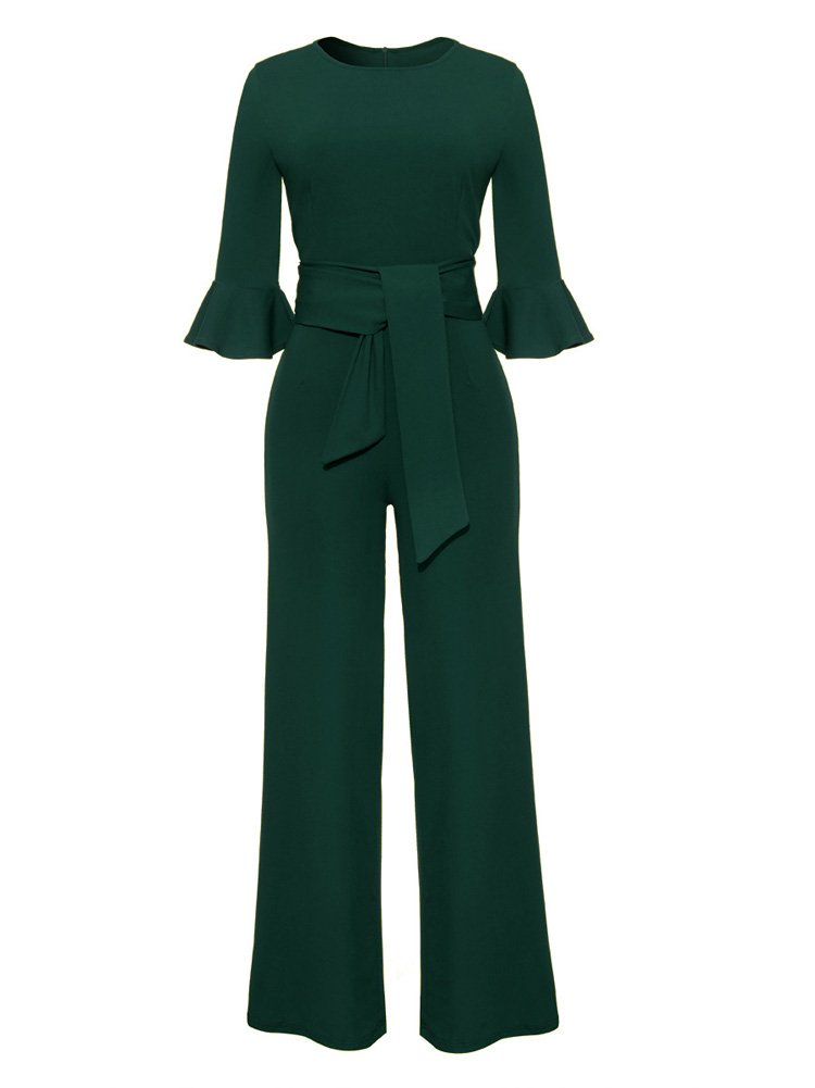 Ladies Elegant 3/4 Sleeve High Waisted Bootcut Pants Party Evening Jumpsuit L Green