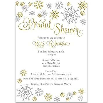 winter bridal shower invitations wedding gold snowflakes silver white 10