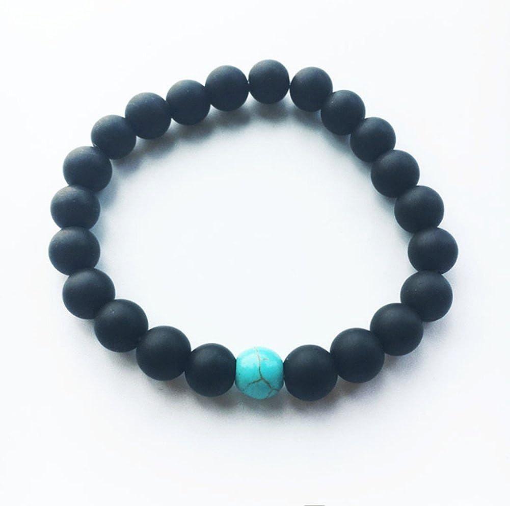 Lovind Fashion Bracelet Blue Turquoise Agate Beaded Unisex Bracelet Birthday Gift a Set