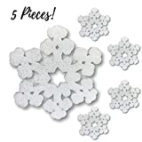 Large Snowflake Decorations - Set of 5 Foam White Glitter Snowflakes - 12'' Foam Snowflake - Snowflakes For Window Decorations - Craft Snowflakes