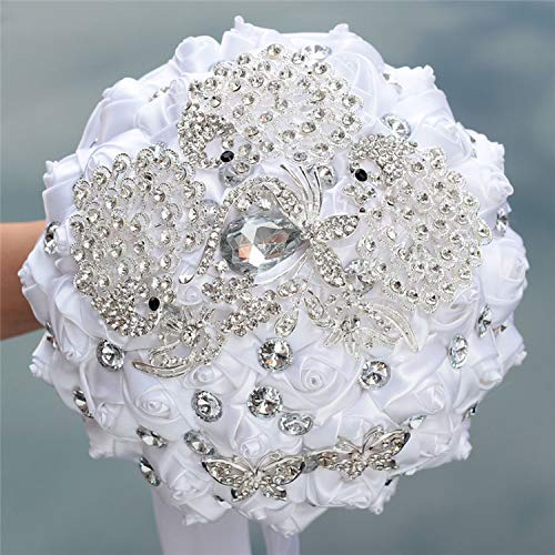 - Balalei 8 Styles New White Wedding Bride Holding Flowers Artificial Bouquet Ribbon Rhinestone Pearl Bouquet Decoration Bride Groom Dance,Style 5