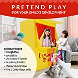 """Alvantor Lemonade Stand Puppet Show Theater Pretend Playhouse Play Tent Kids on Stage Doorway Table Top Sets for Toddlers Curtain Fordable Rods Children Dramatic Furniture, 28""""X20""""X41""""H, Yellow"""