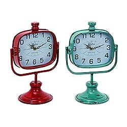 Benzara Durable Metal Clock, Red/Green, Set of 2