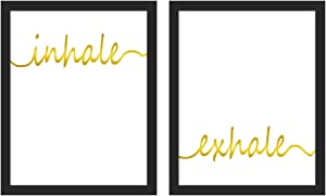 Inhale Exhale Quote Cardstock Art Print, Meditation Gold Foil Print Framed Two(8x10 inch)Yoga Room Office Zen Art Poster,Relaxation Gift Home Decor -Wood Frame Ready to Hang