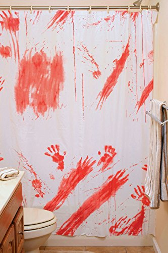 [Bloody Shower Curtain Psycho Hotel Bathroom Halloween Horror Decor] (666 Halloween Costume)