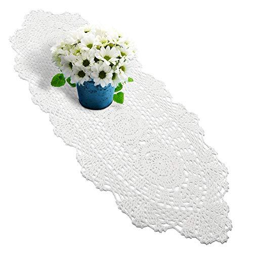- yazi Handmade Crochet Lace Rectangular Table Runner White Color 11.8