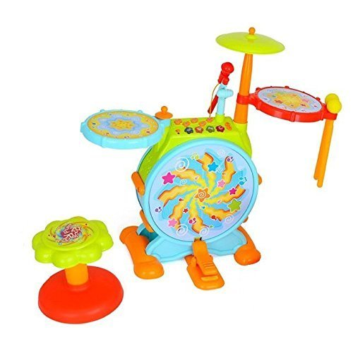 Play Baby Musical Big Toy Kids Drum Set With Adjustable Mic And Seat   Many Functions And Activities For Hours Of Play   Pretend To Be A Real Drummer With Drumsticks  Pedals  And Bass Drum