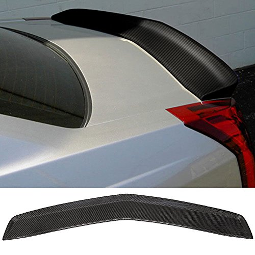 Trunk Spoiler Fits 2003-2007 Cadillac CTS | Factory Style Unpainted CF Carbon Fiber Car Exterior Rear Spoiler Wing Tail Roof Top Lid by IKON MOTORSPORTS | 2004 2005 2006