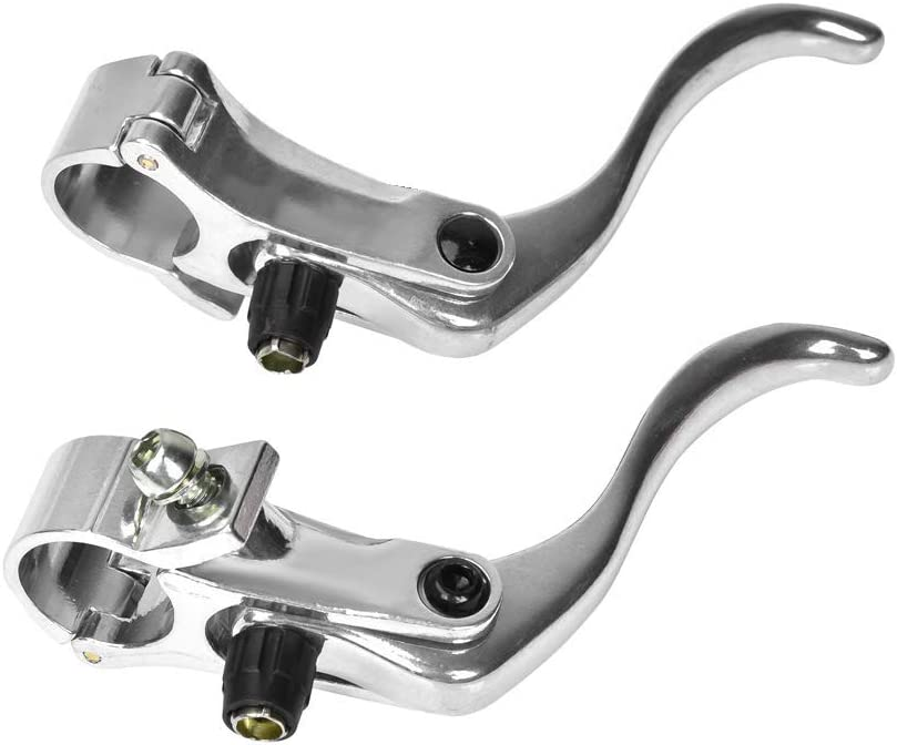 1 Paar Aluminiumlegierung BMX MTB Stra/ße Mountainbike Scheibenbremse Bar Griff Ebene Schwarz Silber Fahrrad Bremshebel Links//rechts Handbremshebel